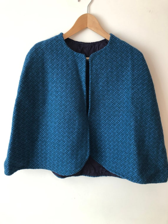 1960s Blue Welsh Tapestry Style Mod Cape XS-S