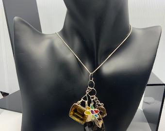 Smoky Quartz Atom multi stone pendant by ReCreation Designs