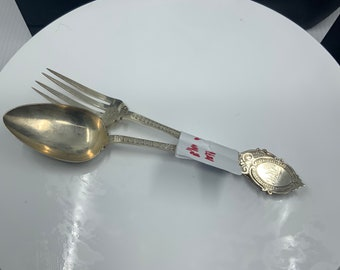 Sterling silver Dessert fork and spoon by George Unite, Birmingham 1877