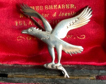 Vintage Ola Gorie sterling silver eagle brooch