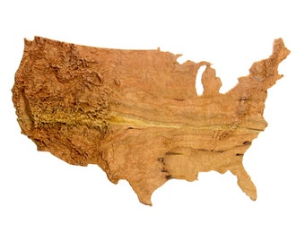 Wood United States Map.Topographical Map Etsy