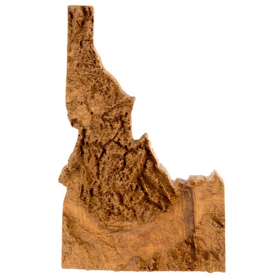 Wooden topographic map of Idaho, 3d map, wood geographic wall art