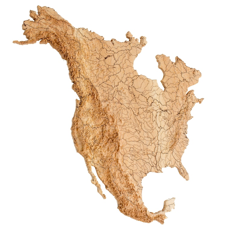 Wooden Topographic Watersheds Map Of North America 3d Relief Etsy