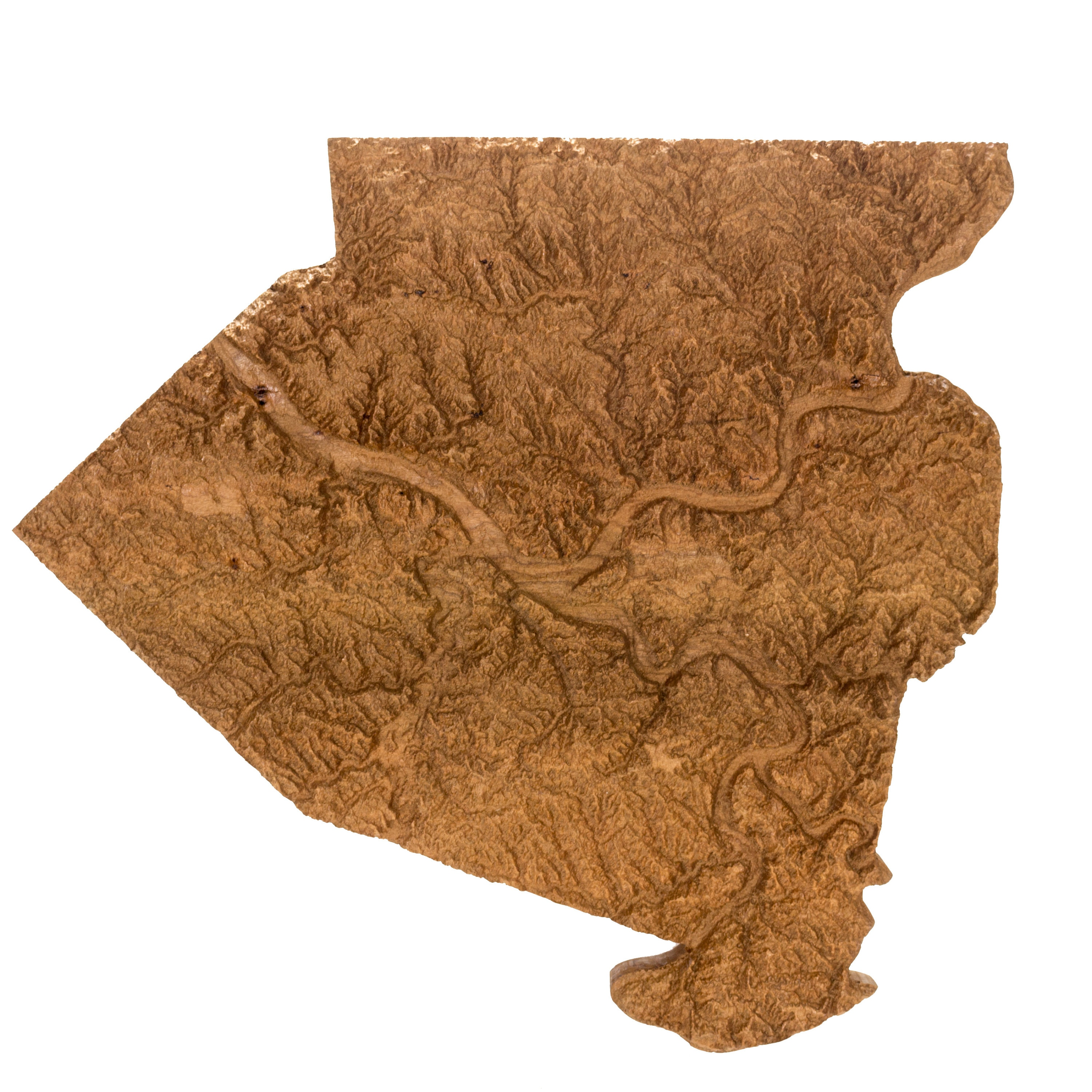 Wooden Topographic Map Of Allegheny County Wood Relief Map Etsy