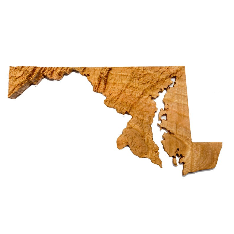 Wooden topographic map of Maryland, 3d map, wood geographic wall art