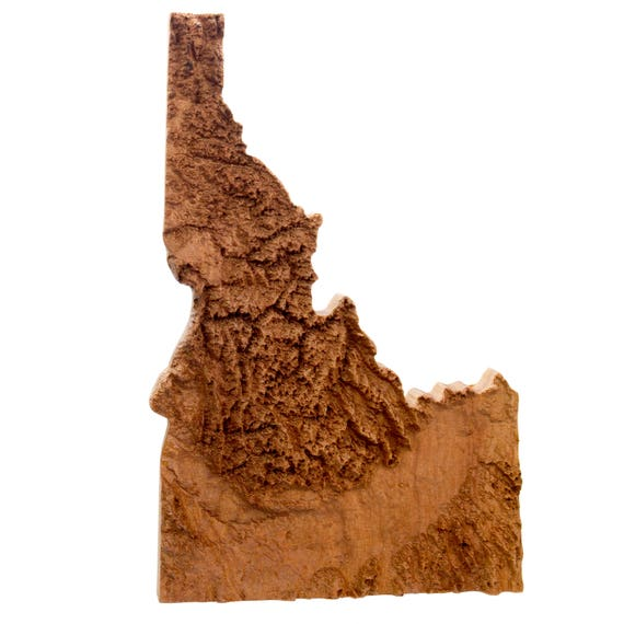 Wooden topographic map of Idaho 3d map wood geographic wall | Etsy