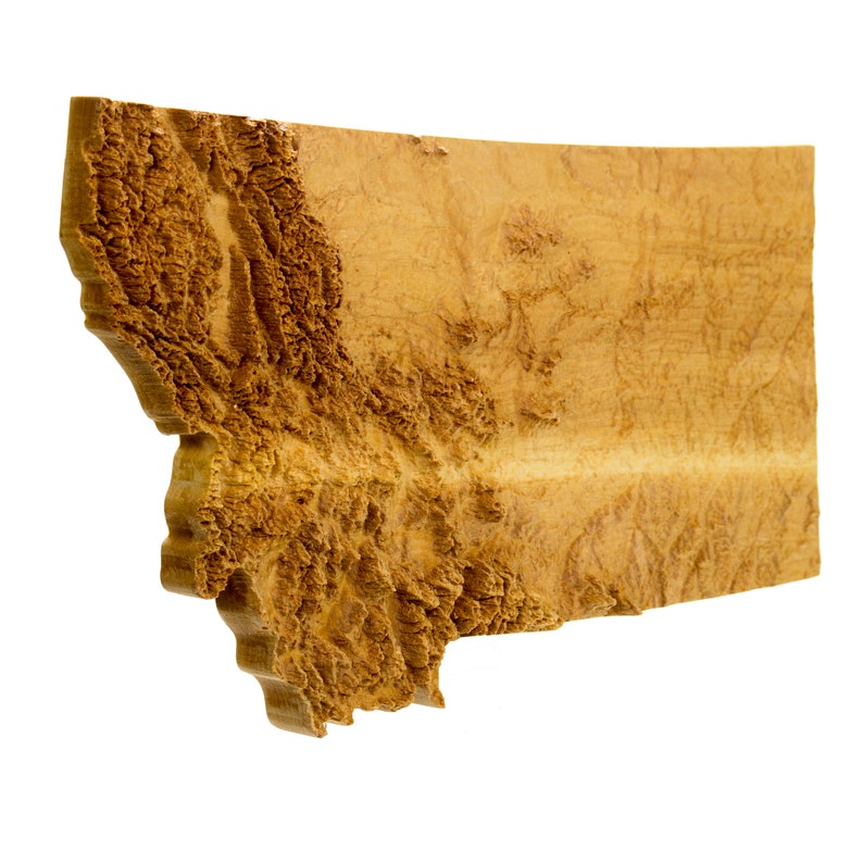 Wooden Topographic Map Of Montana 3d Map Wood Geographic Etsy