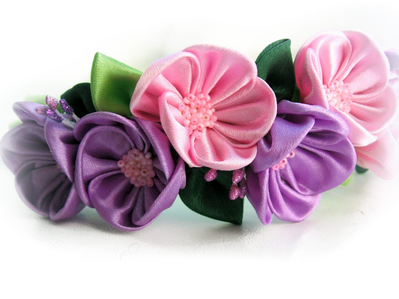 Flower Bridal Crown Summer Party Pink Purple Flower Headband Etsy