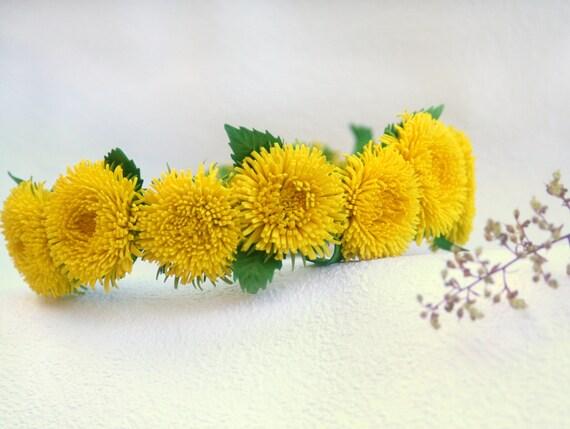Yellow Dandelion flower crown Rustic head wreath handfasting  464922a36f9