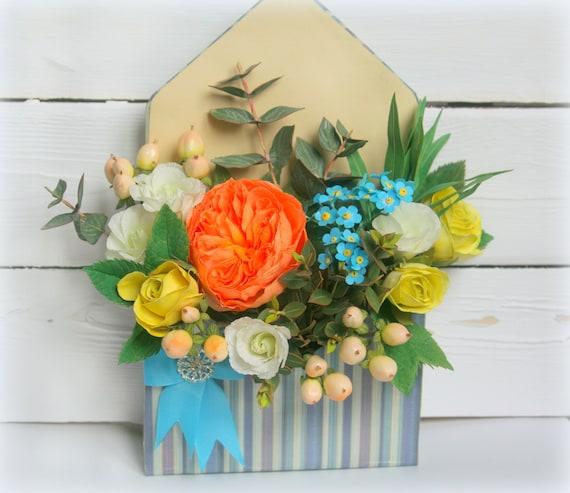 Spring Flower Arrangement In Box Bridal Shower Handmade Faux Etsy