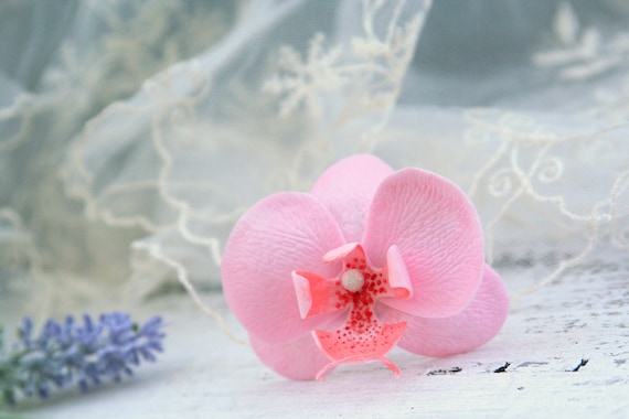 Orchid flower hair clip blush pink orchid hair pin pink etsy image 0 mightylinksfo