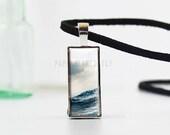 Ocean Pendant Necklace - Sea Jewelry - Rectangular Pendant - Leather - Wave Necklace - Ocean Jewelry - Water Necklace - Sea - Sky - (M8117)