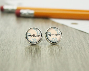 Writer Earrings - Author Jewelry - Gift for Writer - Storyteller - Writer Jewelry - Writer Stud Earrings - Author Gift - (H1956)