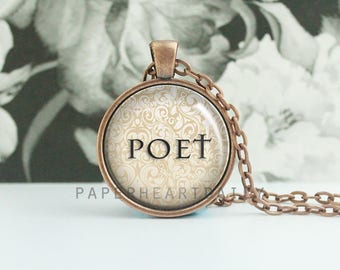 Poet Necklace - Gift for Poet - Poetry Necklace - Poet Jewelry - Poet Gift - Quote Necklace - Copper Pendant -  (B0980)