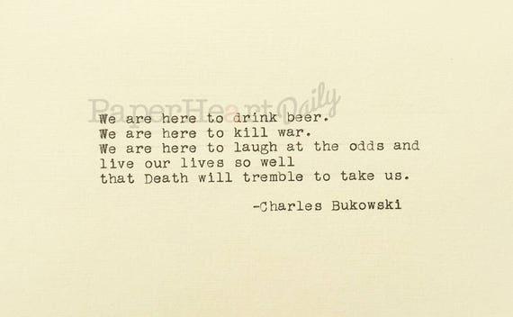 Death Will Tremble To Take Us Charles Bukowski Typewriter Etsy