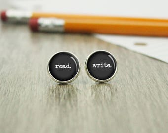 Read Write Earrings - Writer Earrings - Author Gift - Gift for Writer - Storyteller - Book Gifts -  (H9080)