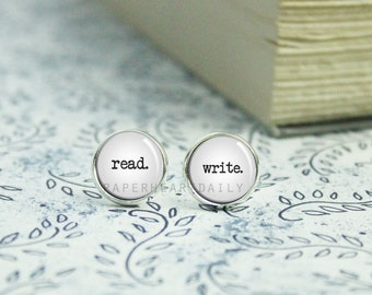 Read Write Earrings - Jewelry for Writer - Author Jewelry - Gift for Writer - Writer Earrings - Book Lover Earrings - (H4401)