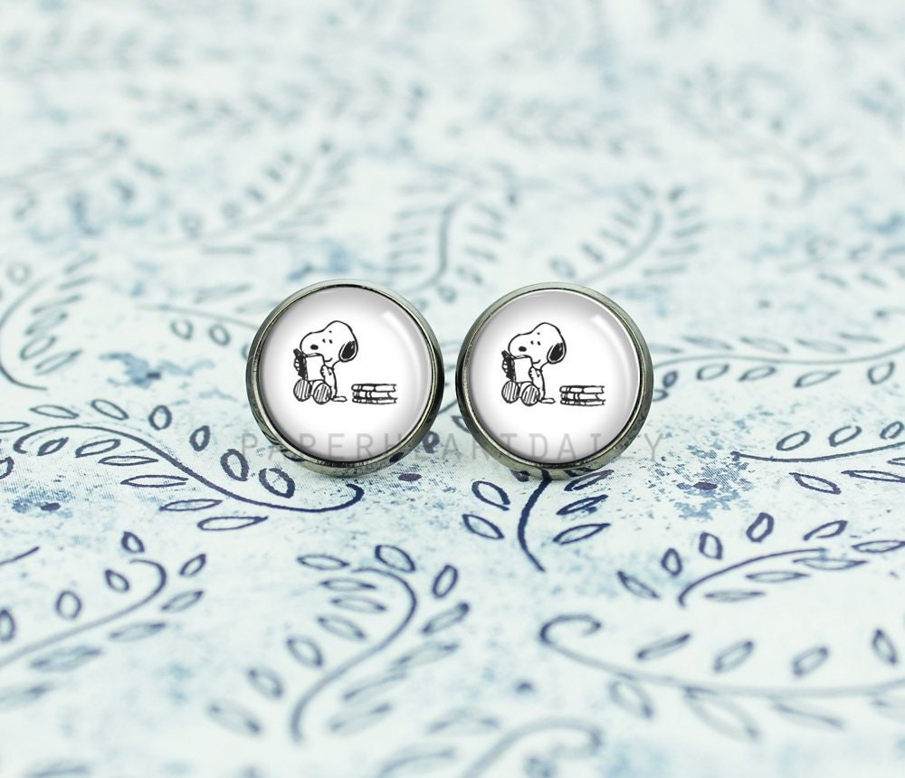 Reading Earrings: Reading Snoopy Earrings Snoopy And Books Snoopy Earrings