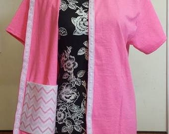 Mastectomy  Recovery Front Opening T-Shirt with 2 Drain Pockets