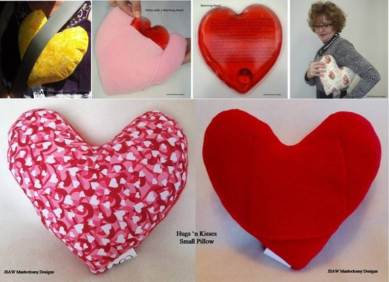 A mastectomy pillow in the shape of a