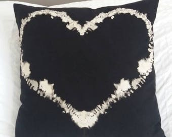 Hand dyed Black and white Heart love valentine cushion throw pillow cover emo goth punk