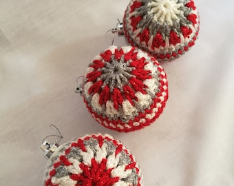 Set of 3 Crochet Christmas Baubles