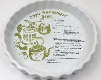 "Vintage apple & ginger menu flan dish - ashley ceramics - 7.75"" wide"