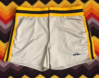NEW  VINTAGE BIKE YELLO Vtg Retro SZ-M STRETCH Athletic Coach COMPRESSION SHORTS