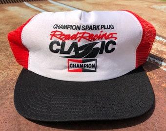 9e01358f9f5a7 70s Champion Spark Plug Road Racing Classic Trucker Hat - Vintage Road  Atlanta Red