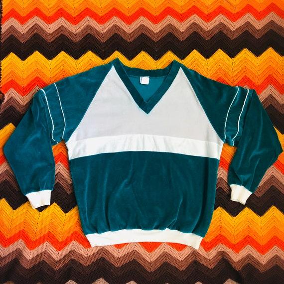 70s Velour Sweatshirt V-Neck - Vintage 1970s Velou