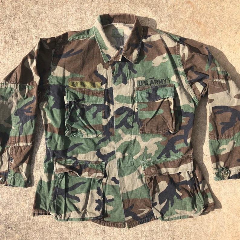 465de0e3acadd 80s Camo Combat Coat US Army Utility Jacket Vintage | Etsy