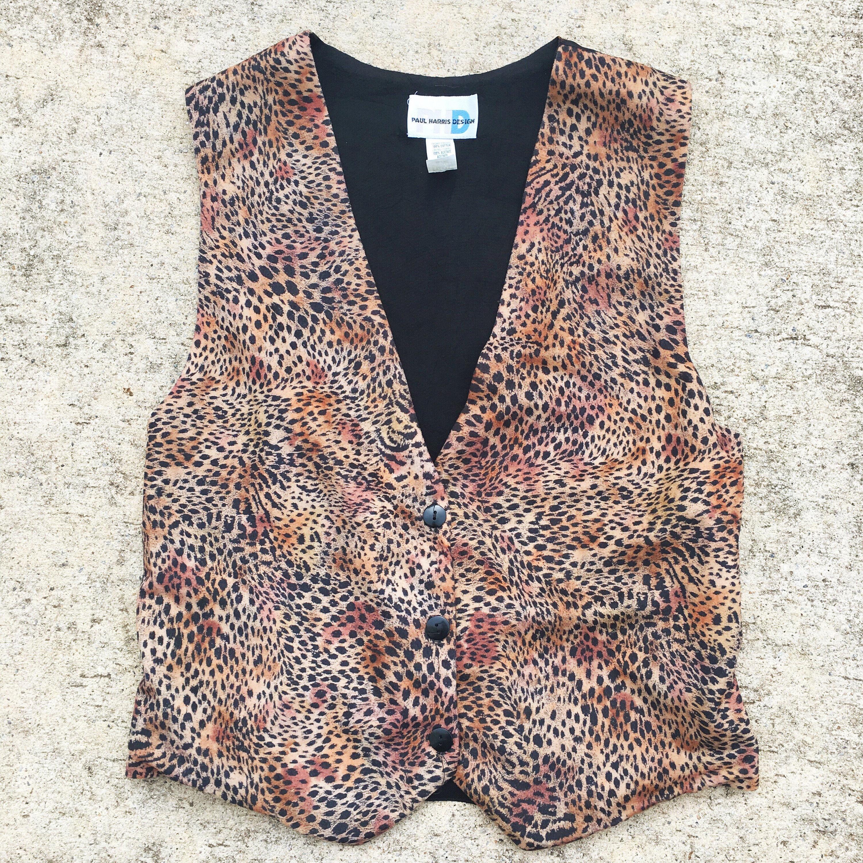 df428ff69f 80s Cheetah Print Vest Vintage Leopard Print Vest | Etsy