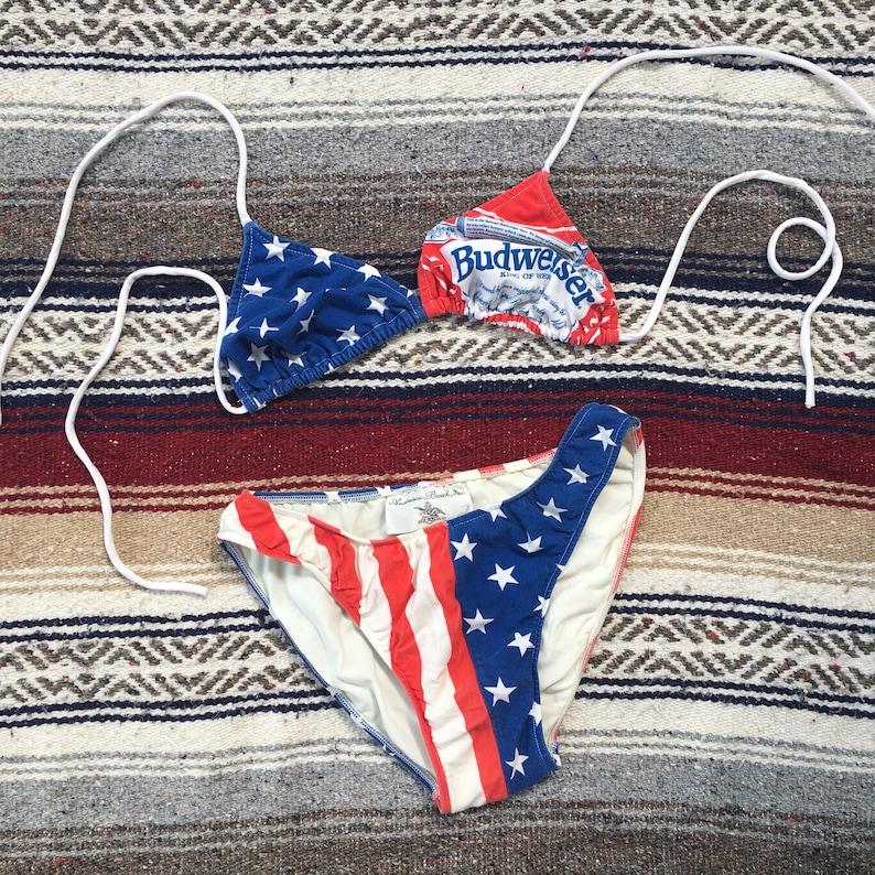 21e332801f7b9 1980s Budweiser American Flag Bikini Vintage 80s 90s