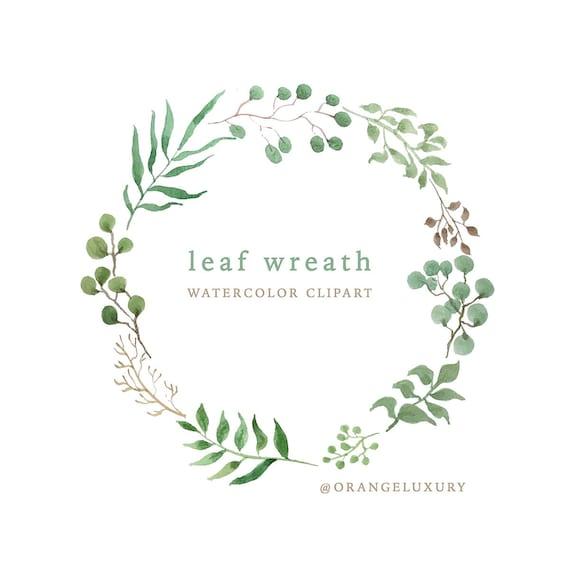 leaf wreath 1 instant download watercolor leaf wreath leaf etsy
