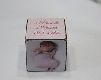 Baby Annuncement Wooden Block .Baby Girl Pictures Block. Personalized Wooden Block. Hostess Gift Idea Wooden Block.
