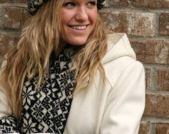Snowflake Hat, warm hat, winter hat, women's hat, holiday hat, fleece hat, Berber hat, poalr mitts hat, polar mitts, polarmitts