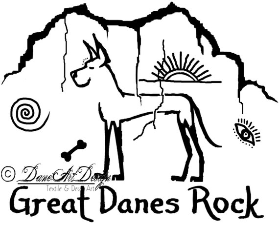 Great Danes Rock Primitive Decal From Daneart