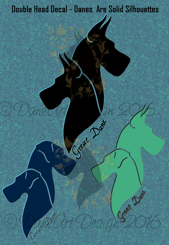 Double Great Dane Silhouette Style Heads Decal With Natural Or Etsy