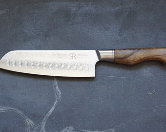 Raw Obsession Damascus Santoku knife 7 Inch and with sycamore handle