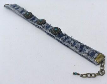 Recycled blue jeans slider bracelet