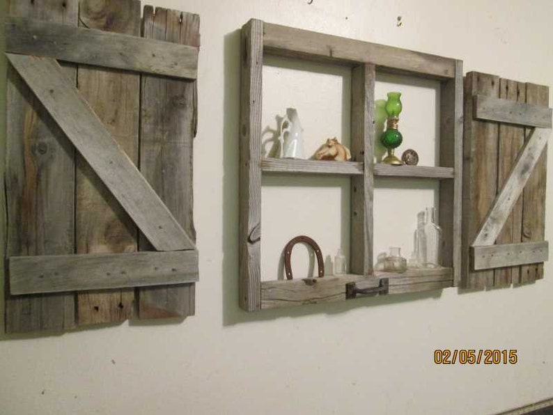 Rustic Little Window Frame With Shutters Etsy