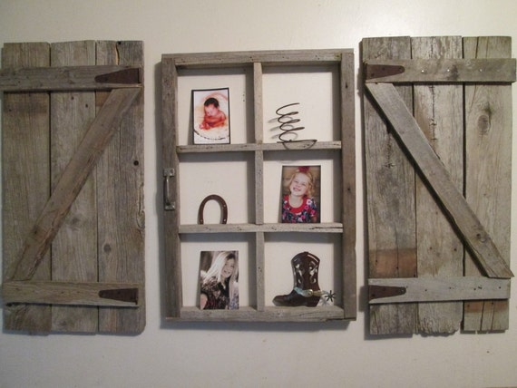 Rustic window frame with shutters fixer upper farm house decor