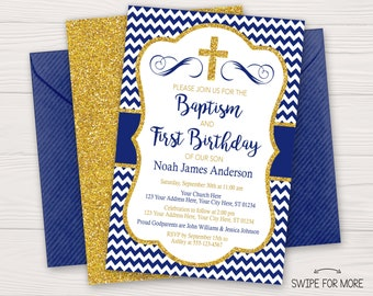Boy Baptism And First Birthday Invitation