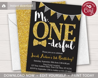 Mr ONEderful Birthday Invitation In Black And Gold