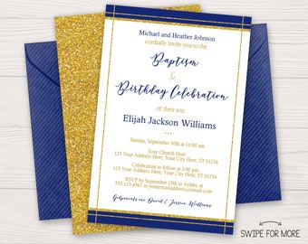 Baptism and birthday invitation etsy elegant baptism and birthday invitation boy baptism and first birthday invitation royal blue and gold personalized printable filmwisefo