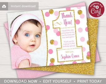 pink and gold confetti 1st birthday thank you card with photo editable template online instant download - First Birthday Thank You Cards