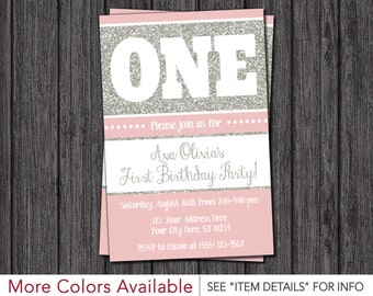 princess first birthday invitation pink and silver 1st etsy