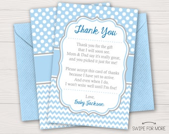 baby shower thank you cards boy baby sprinkle thank you cards baby blue blue and gray