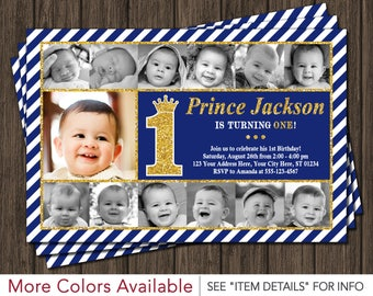 Prince Birthday Invitation | Prince First Birthday Invitations | Newborn to 12 months | Royal Blue and Gold