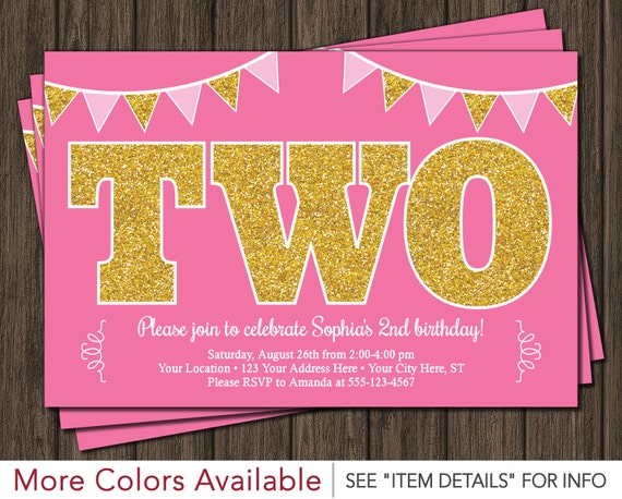 Pink And Gold 2nd Birthday Invitation TWO